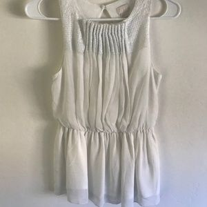 H&M Embroidered Sleeveless Blouse with Open Back
